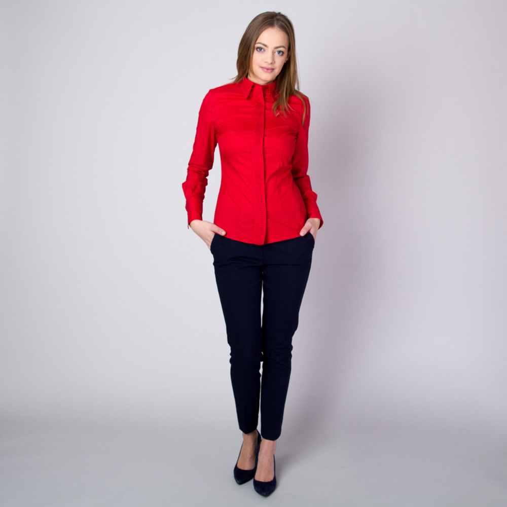 Women's shirt with pleating in red 11347