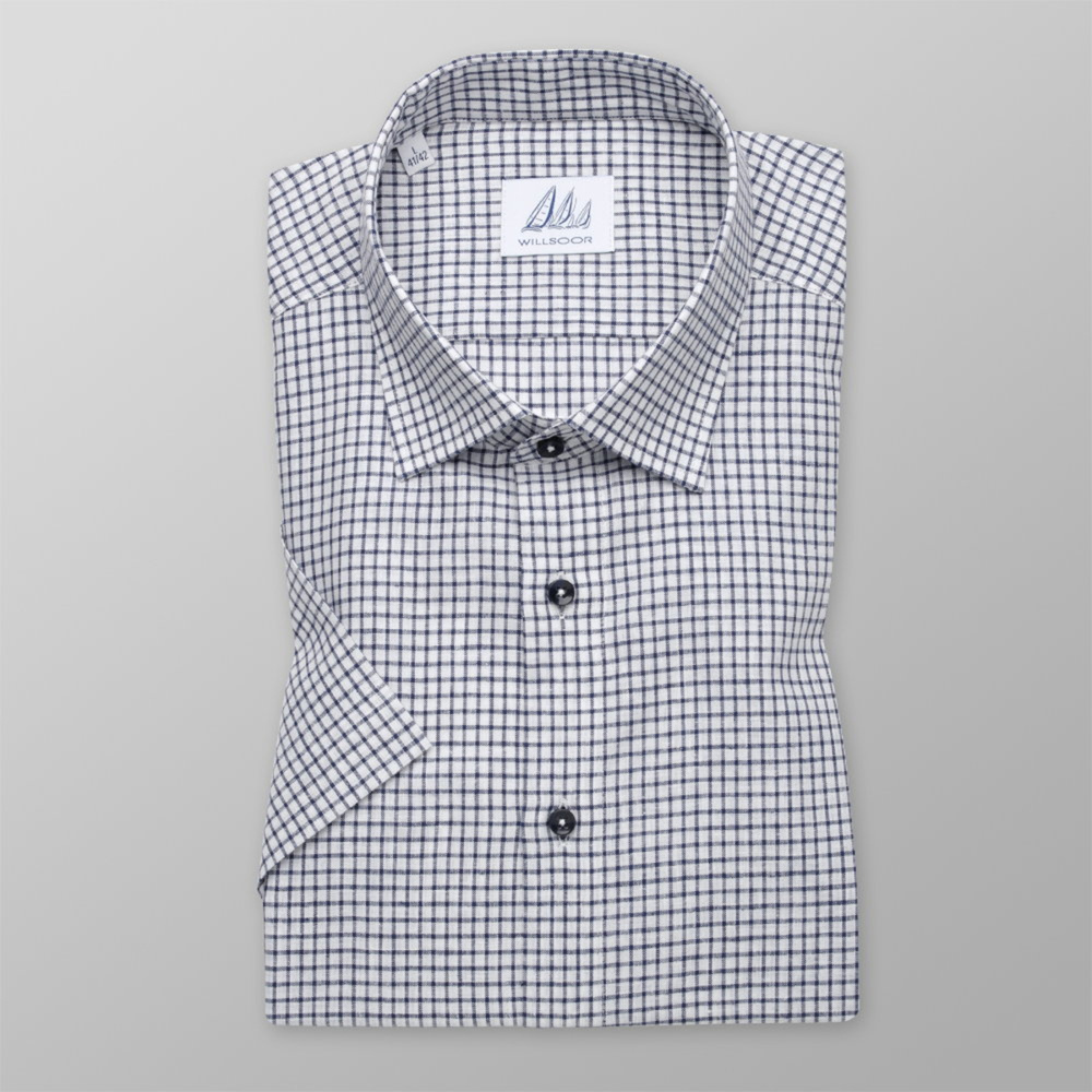 Men's  Slim Fit shirtwith dark blue check pattern 11878