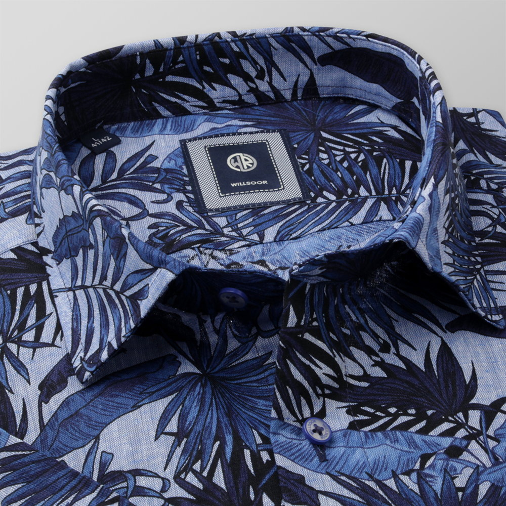 Men's Slim Fit shirt with dark blue floral print 11884