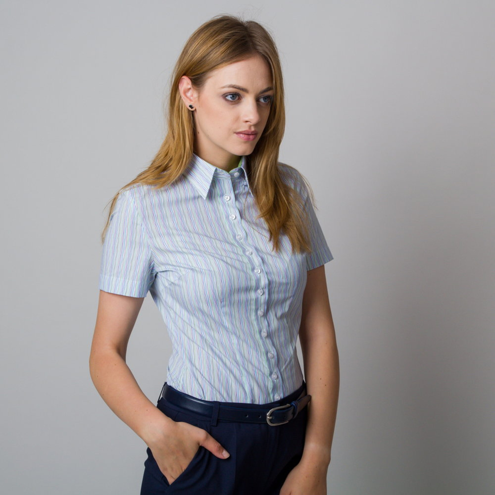 Women's shirt with colorful striped pattern 11915