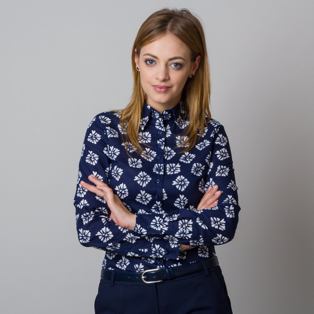 Women's shirt with white flower pattern 11918