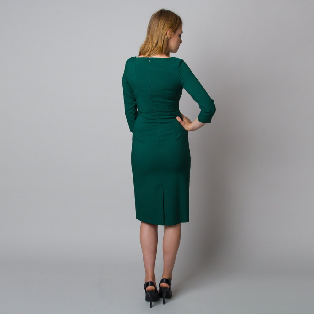Midi dress in dark green color 11924