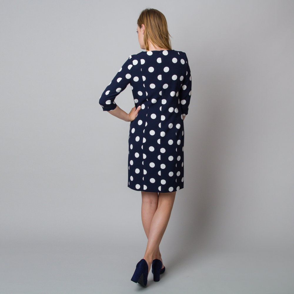 Midi dress with white polka dot pattern 11926
