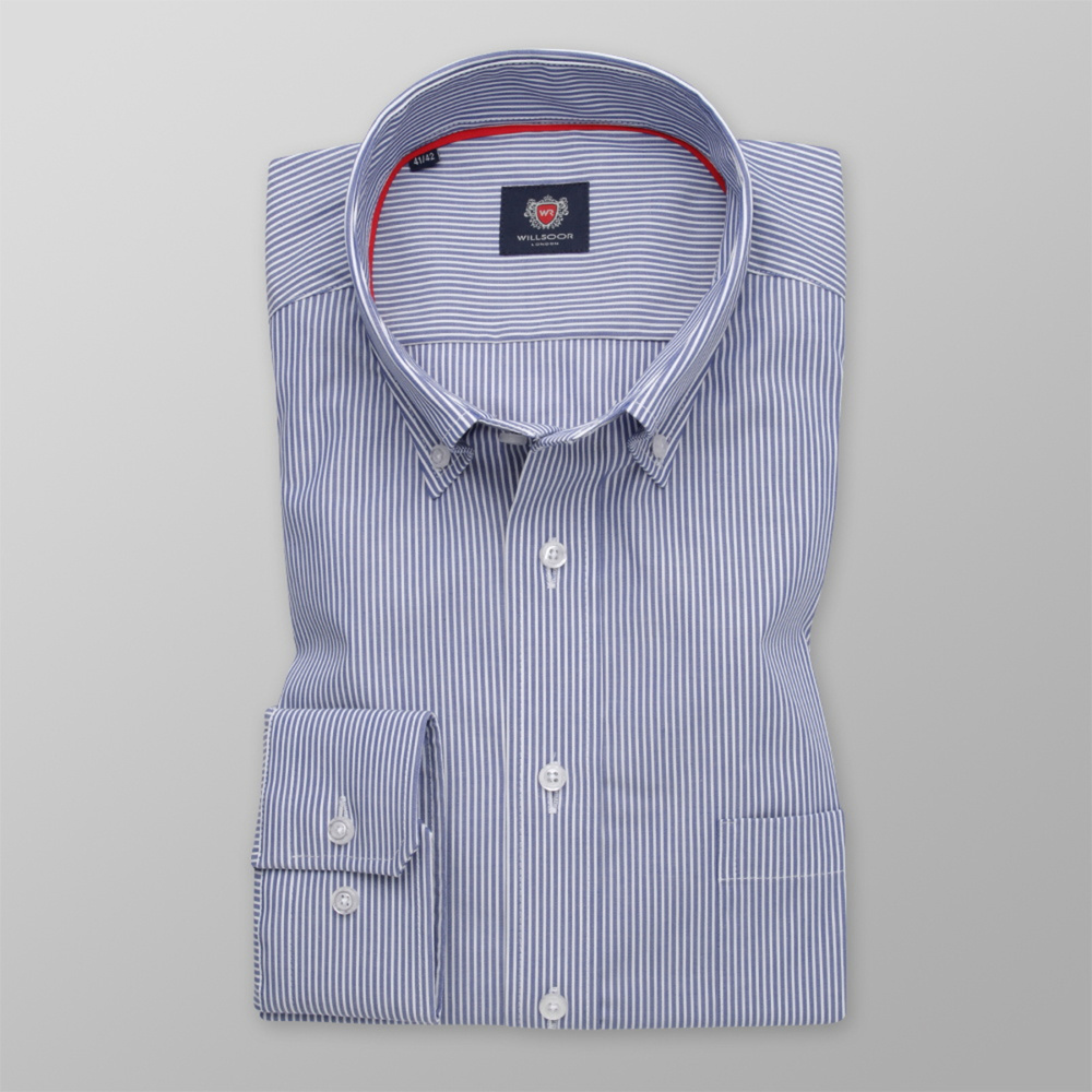 Men's classic shirt with blue-white striped pattern 12068