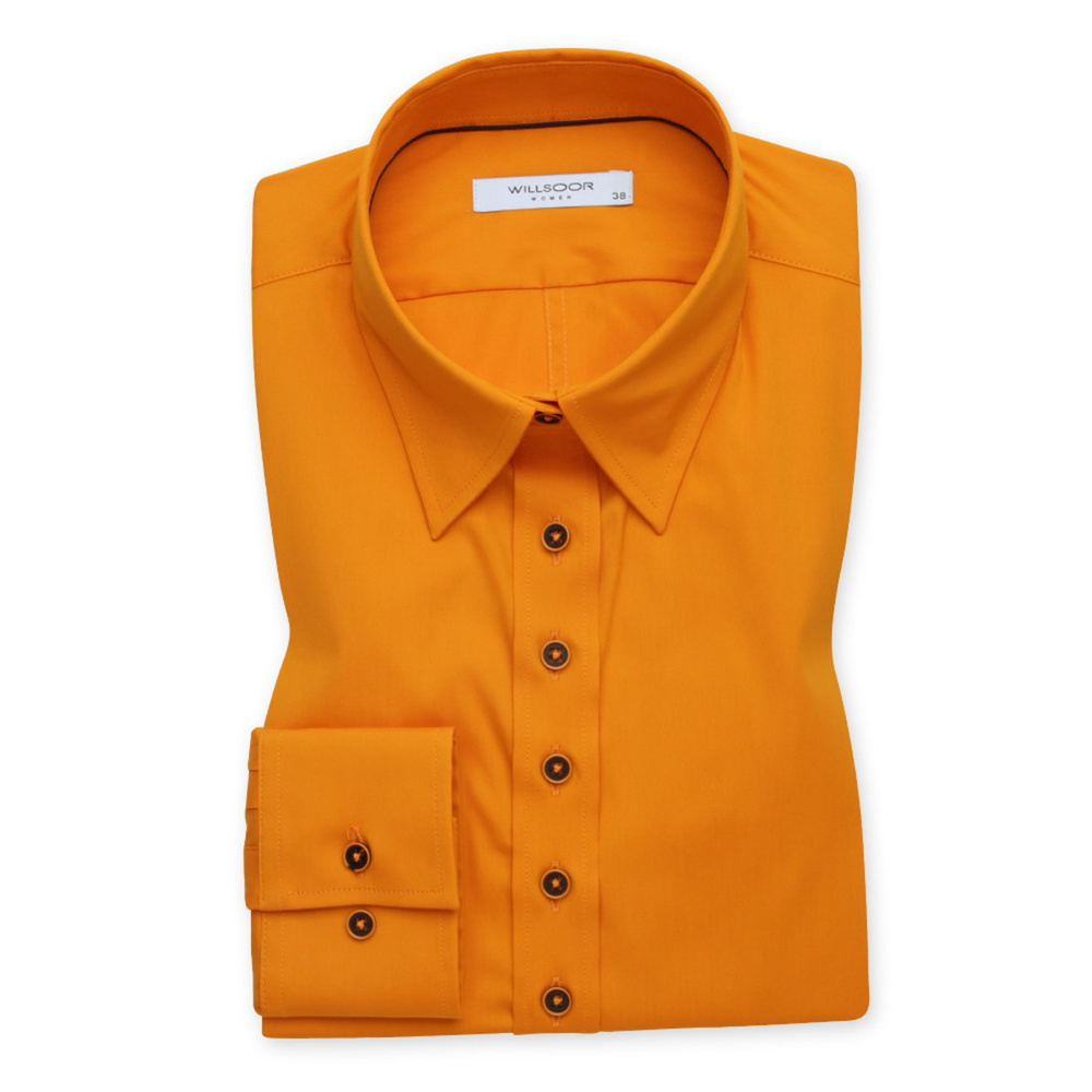 Women's orange shirt with a smooth pattern 12086