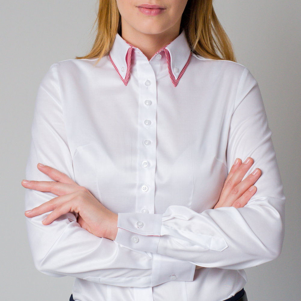 Women's white shirt with contrasting elements 12216