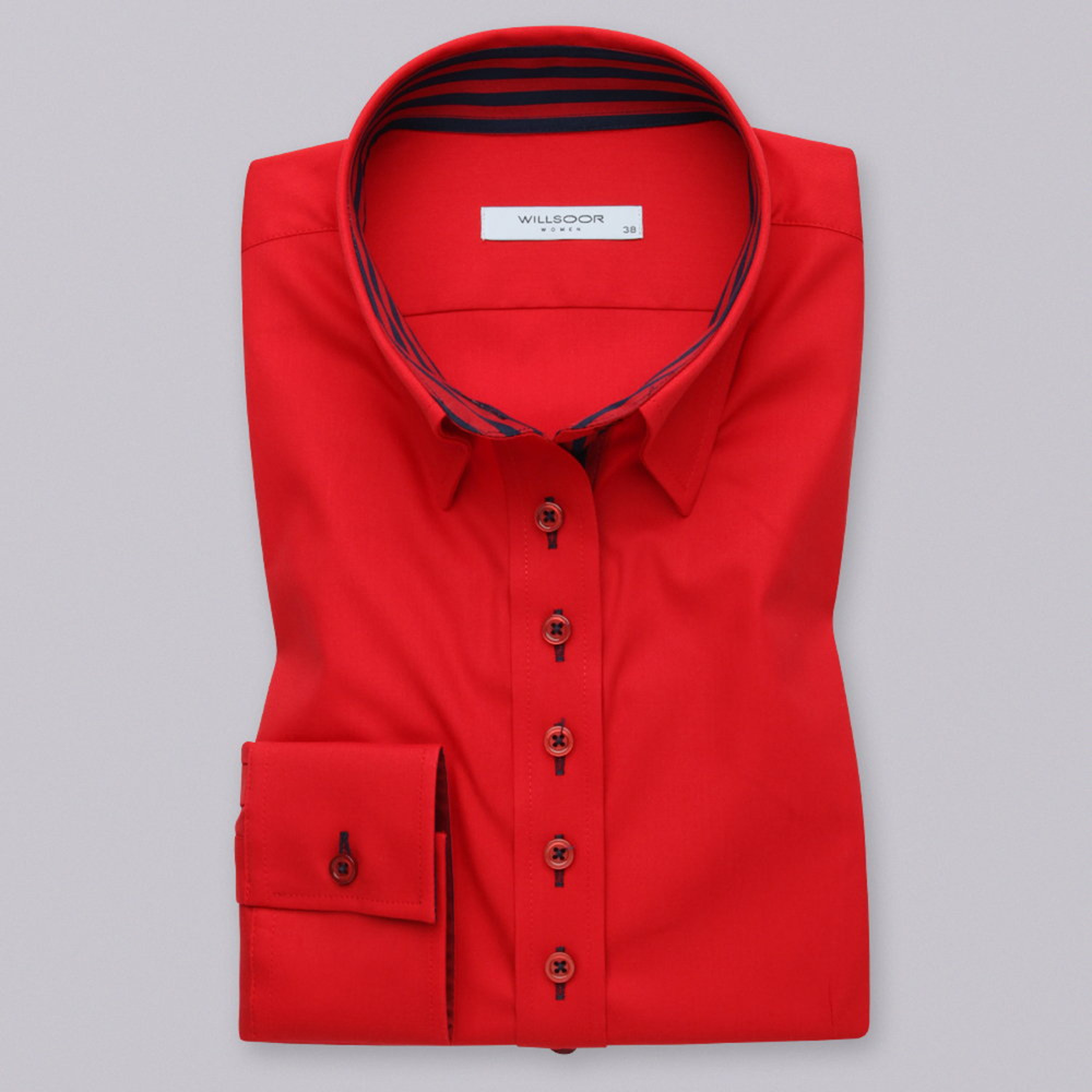 Women's red shirt with a contrasting pattern 12382