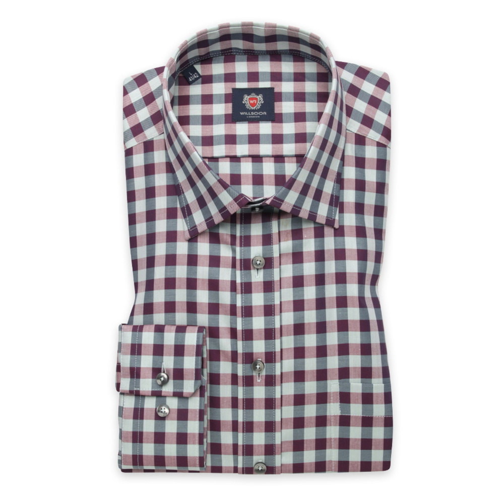 Men's classic shirt with a purple-grey pattern 12408