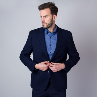 Men's suit jacket in dark blue (all sizes) Willsoor 10245, Willsoor