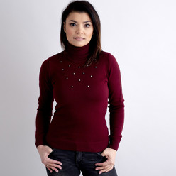 Women's turtleneck pullover  claret with decoration 10516, Willsoor