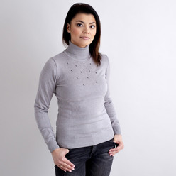 Women's turtleneck pullover in grey with decoration 10519, Willsoor