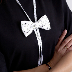 Women's bow tie in white color with print 10599, Willsoor