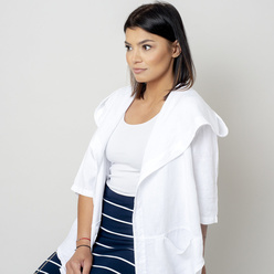 Oversize women's canvas jacket in white 10779, Willsoor