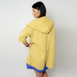 Oversize women's canvas jacket in ochre color 10780, Willsoor