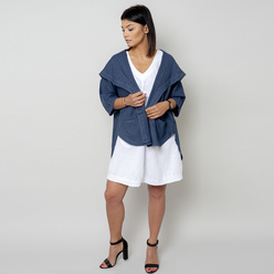 Oversize women's canvas jacket in dark blue 10781, Willsoor