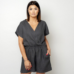 Canvas short jumpsuit in anthracite color 10782, Willsoor