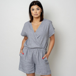 Canvas short jumpsuit in grey color 10783, Willsoor