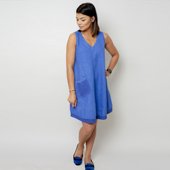 Short blue dress with a pocket 10797, Willsoor