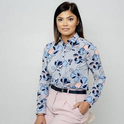 Women's grey shirt with floral print 10802