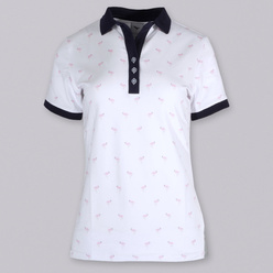 Women's polo t-shirt with flamingos print 10820, Willsoor