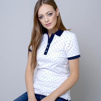 Women's polo shirt with print anchors10822, Willsoor