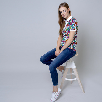 Women's polo t-shirt with butterflies print 10823, Willsoor