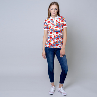 Women's polo shirt with flowers print 10824, Willsoor