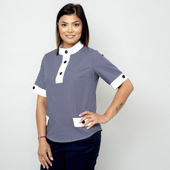 Women's t-shirt with fine blue pattern 10830, Willsoor