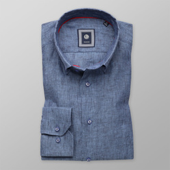 Slim Fit natural linen shirt in blue (height 176-182 a 188-194) 10887