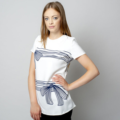 Women's t-shirt with dark blue print 10906, Willsoor