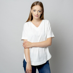 Women's t-shirt in white with linen addition 10908, Willsoor