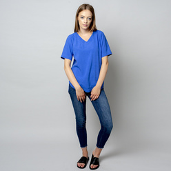 Women's t-shirt in blue with linen addition 10909, Willsoor