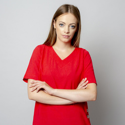 Women's t-shirt in red with linen addition 10910, Willsoor