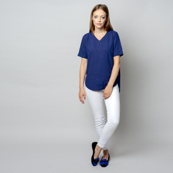 Women's t-shirt in dark blue with linen addition 10911, Willsoor