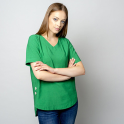 Women's t-shirt in green with linen addition 10912, Willsoor