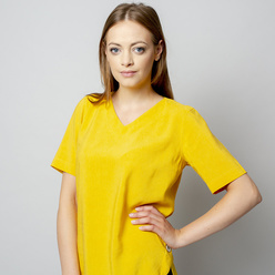 Women's t-shirt in yellow with linen addition 10913, Willsoor