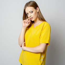 Women's t-shirt in yellow with linen addition 10913