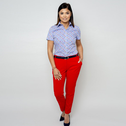 Women's blouse with check and floral pattern 10917, Willsoor