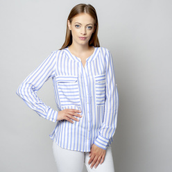 Women's blouse with blue striped pattern 10931