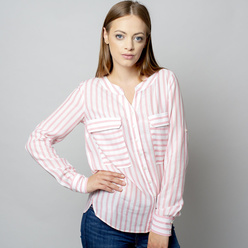 Women's blouse with pink striped pattern 10932, Willsoor
