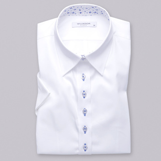 Women's shirt in white color with smooth pattern 10943, Willsoor