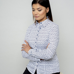 Women's shirt with dark blue geometric pattern 10960