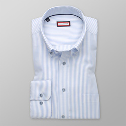 Slim Fit shirt with light blue striped pattern (height 176-182) 11043