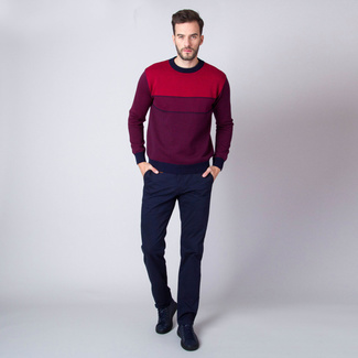 Men's jumper with stripes in red color 11089, Willsoor