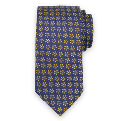 Men's silk tie with yellow floral print 11113, Willsoor