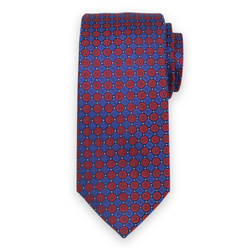 Men's silk tie with red and blue print 11114, Willsoor