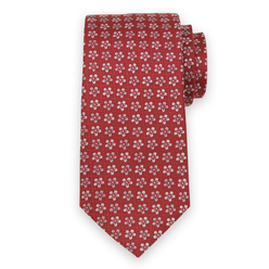Men's silk tie with white floral print 11115, Willsoor
