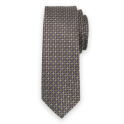 Narrow tie in brown color with polka dot pattern 11133, Willsoor