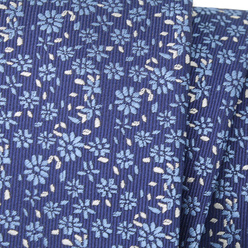Narrow tie in dark blue color with floral pattern 11134, Willsoor
