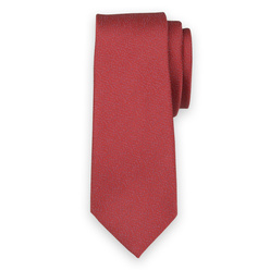Narrow tie in red color with blue polka dot pattern 11136, Willsoor